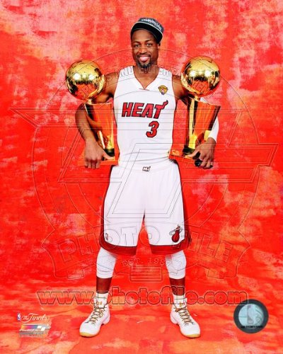 Miami Heat Championship (Dwyane Wade Miami Heat NBA Championship Trophies 8x10 Photo)