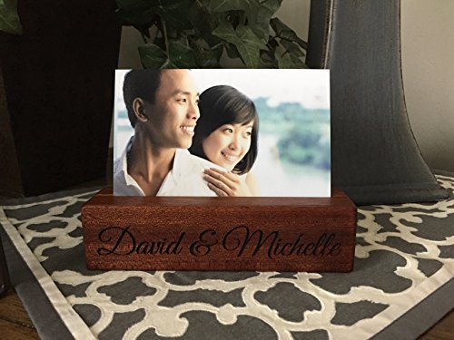 Qualtry Personalized Woodblock Photo Holder, Beautiful Wooded Picture Stands - Unique Personalized Wedding Gifts for Couples (David & Michelle Design, Mahogany Wood) - Block Photo Holder