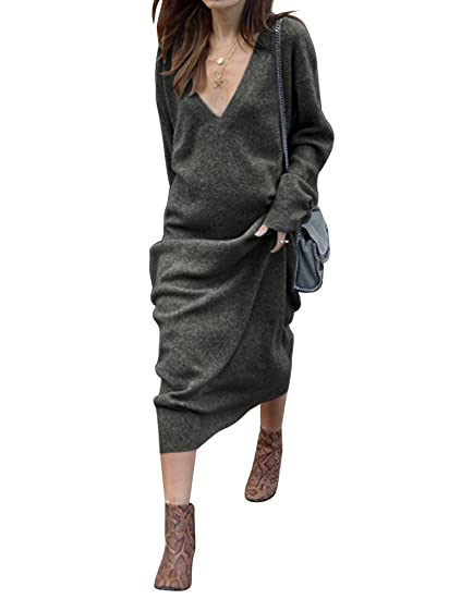 492c8f3a9a50 Amazon.com  ZXZY Women V Neck Long Sleeve Solid Casual Knitted Dress ...