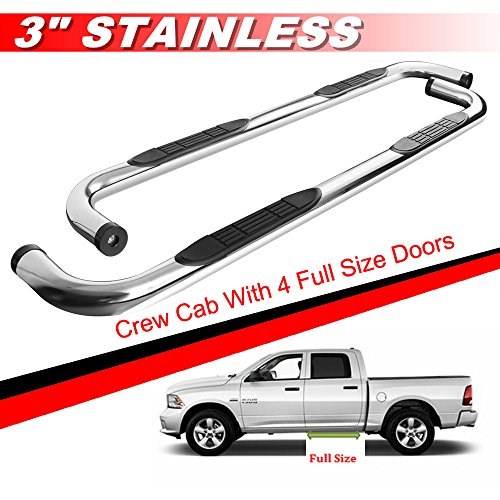 oards S/S Nerf Bar Side Step For 09-17 Dodge Ram 1500 10-17 Ram 2500 Ram 3500 Crew Cab With 4 Full Size Doors (Chrome Crew Cab)