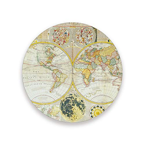 Vintage Samuel World Map Coasters for Drinks 3.9 Inches Ceramic Stone Drink Coaster with Cork Back for Home, Bar, Protect Tables from Water and Scratches