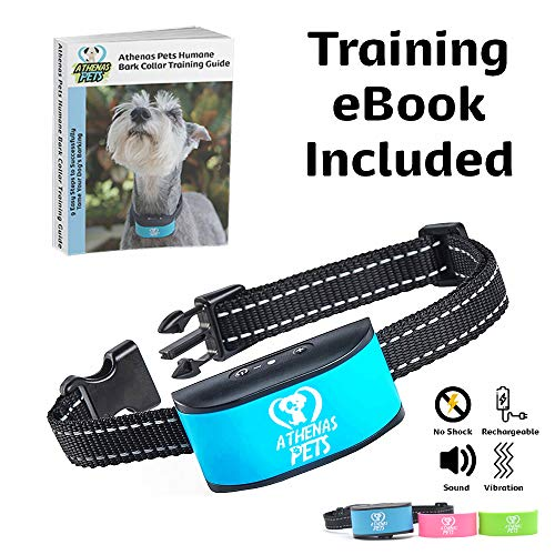 Athenas Pets Bark Collar, Humane Dog Bark Collar Using Beep, Vibration, No Shock, Rechargeable Bark Collar All Breeds, Bark Collar Small Dog, Medium Dog, Blue, Pink, Green Anti Bark Collar