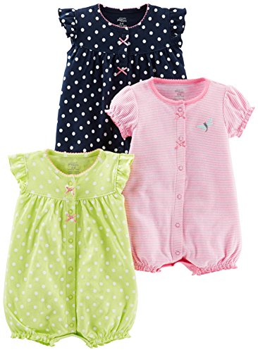 Simple Joys by Carter's Baby Girls' 3-Pack Snap-up Rompers, Navy Dot/Pink Stripe/Yellow Dot, 0-3 Months