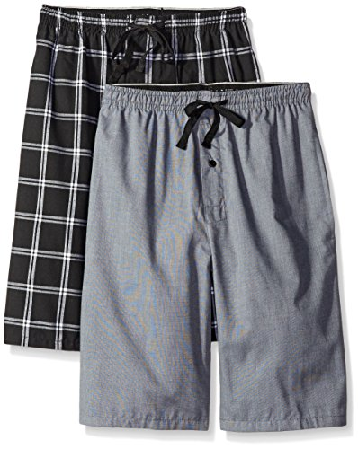 Hanes Men's 2-Pack Woven Pajama Short, Black/Grey, XX-Large
