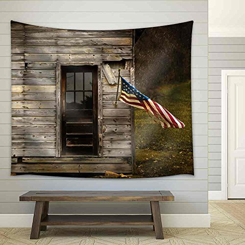 American Flag Hanging from an Old Barn with Negative Space to Display Text Fabric Wall