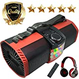 EMB Bluetooth Boombox Street Disco Stereo Speaker - 3600mAH Rechargeable Battery Portable Wireless 300 Watts Power FM Radio/MP3 Player w/Remote and Disco Lights w/EMB Headphone (Red)