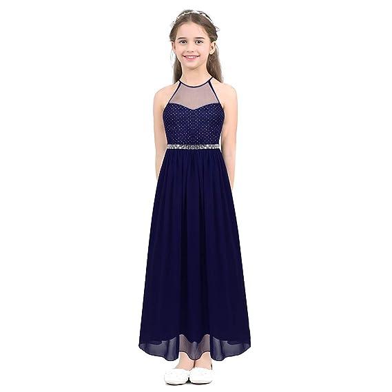 ranrann Vestido Elegante de Fiesta Boda para Niña Sin Mangas ...