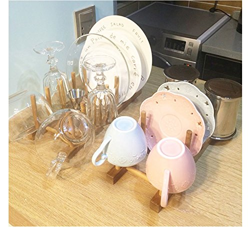 Zicome Set of 2 Bamboo Wooden Dish Rack Plate Rack Stand Pot Lid Holder Kitchen Cabinet Organizer by ZICOME (Image #4)