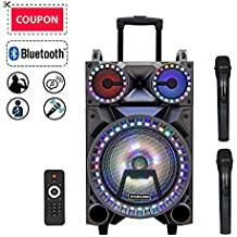 """Starqueen Portable Bluetooth Speaker 10"""" Woofer + Dual 3"""" Tweeter, Rechargeable PA System with 2 Wireless Micorphone/Remote/Wheels/DJ Lights, Karaoke Party Amplifier Sound System with AUX/FM/Radio/TF"""