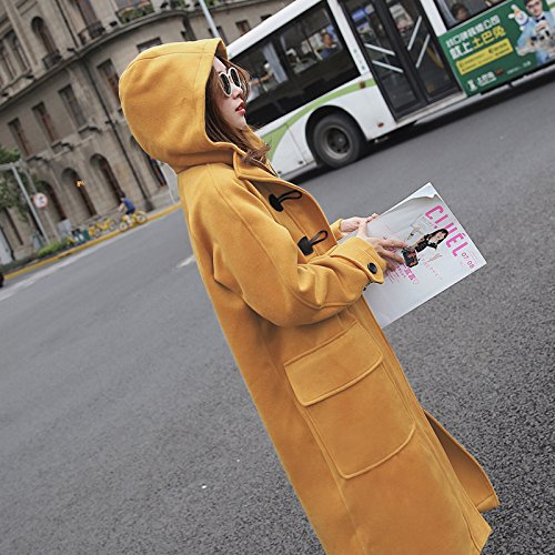 Xuanku Loose Hooded Horns Deduction Tweed Clothing Women'S College Wind Autumn And Winter Long Woolen Jacket Turmeric