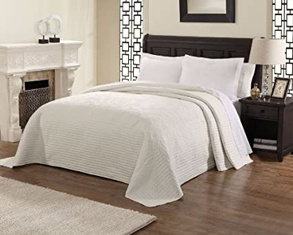 Lifestyle French Tile Microfiber Bedspread White King