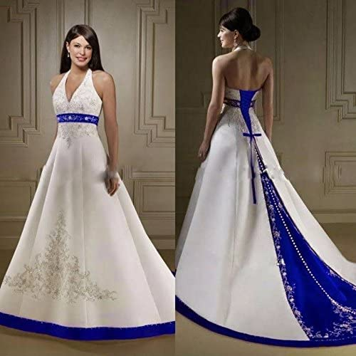 Diousha A Line Chapel Train Dress Embroidery Beaded Satin Royal Blue And White Wedding Dresses Blue At Amazon Women S Clothing Store