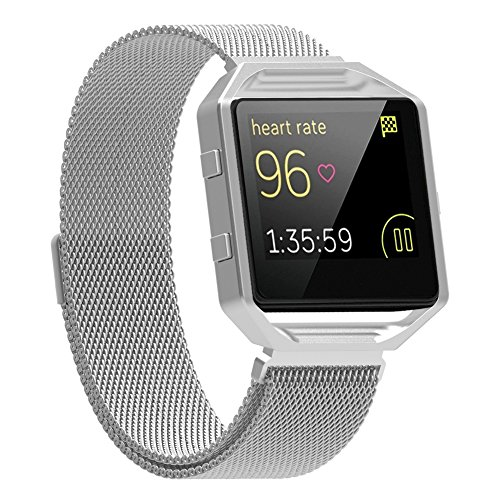For Fitbit Blaze Bands with Frame, Austrake Replacement Milanese Loop with Metal Housing for Fitbit Blaze Smart Sports Watch Bracelet for Women Men
