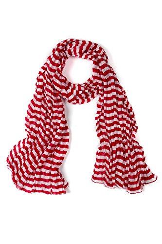 Stripe Crinkle Scarf (Ulla Popken Women's Plus Size Crinkle Scarf Poppy Stripe 1Size 709085 51)