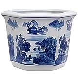 Oriental Furniture 10'' Landscape Blue & White Porcelain Flower Pot