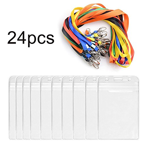 Name Tags Badge ID Holder With Lanyard 24pcs iLoveCos