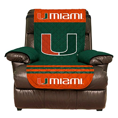 Reversible Couch Cover - College Team Sofa Slipcover Set / Furniture Protector - NCAA Officially Licensed (Recliner, University of Miami Hurricanes (Miami Hurricanes Leather Football)