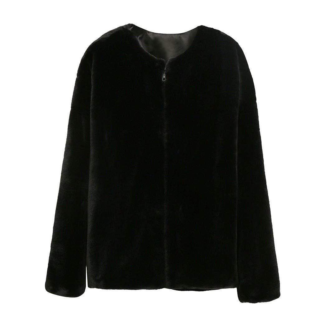 Tiandino Womens Fashion Faux Fur Soft Fur Coat Crop Tops Jacket Casual Warm Zipper Open Front Plush Short Coat Black by Tiandino