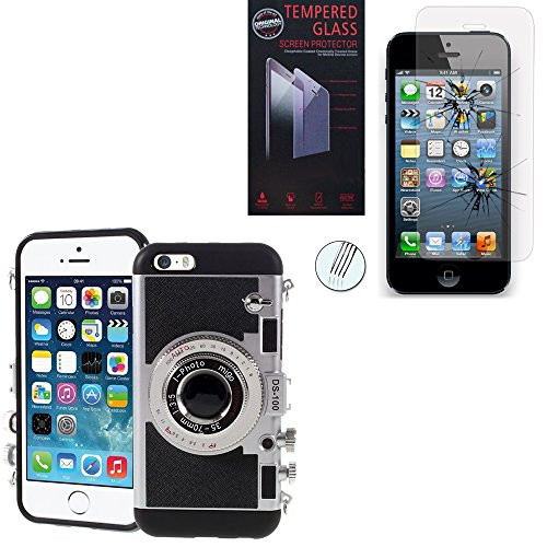 VCOMP® Camera case Coque Silicone TPU motif appreil photo élégant couleur NOIR + 1 Film Verre Trempé couleur TRANSPARENT pour Apple iPhone 5/ 5S/ SE