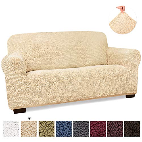 - Loveseat Cover - Loveseat Slipcovers - Loveseat Couch Covers - Soft Polyester Fabric Slipcovers - 1-piece Form Fit Stretch Stylish Furniture Cover - Microfibra Collection - Vanilla (Loveseat)