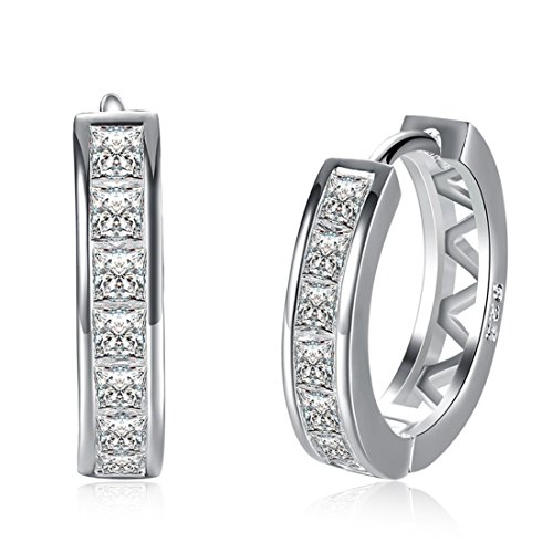 925 Sterling Silver Costume Jewelry - Runsmooth Women Hoop Earrings 925 Sterling Silver Cubic Zirconia 18 mm Round Stud Earrings Jewelry