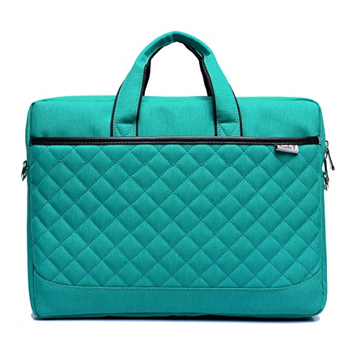 Ladies Briefcase Green (ZYSTERT 15.6-Inch Laptop Bag Shoulder Bag With Strap Multi-Compartment Messenger Hand Bag Briefcase for Laptop / iPad Pro / Tablet / Macbook / Ultrabook / Men / Women (Green))