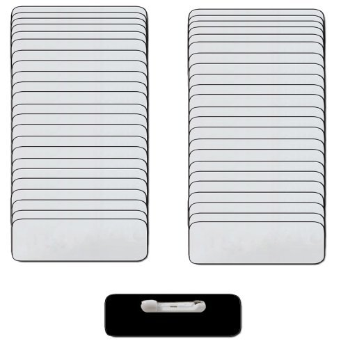 Name Badges with Pin Fastener - 50pk Kit Includes Crystal Clear Labels - Silver/Blk Blank Plastic Name Tags with 1/4th Rounded Finished Corners 1
