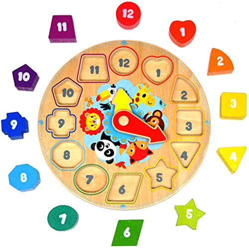 GYBBER&MUMU Wooden Shape Sorting Clock Preschool Colorful Shape Puzzle Toddler Educational Learning Toys for Age 0.5+ ()