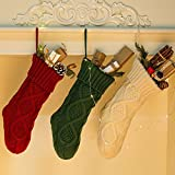 NIGHT-GRING Pack 3, 18'' Knit Christmas Stockings woven Stockings Christmas Decorations White/Red/Green