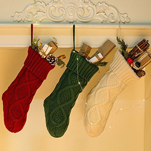 NIGHT-GRING Pack 3, 18'' Knit Christmas Stockings woven Stockings Christmas Decorations White/Red/Green by NIGHT-GRING
