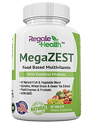 Daily Multivitamin for Men and Women, Whole Food Natural Raw Ingredients, Minerals & Vitamins, B-Complex, Green Superfood, Probiotic, Digestive Enzymes, for Energy and Heart Health - Non-GMO