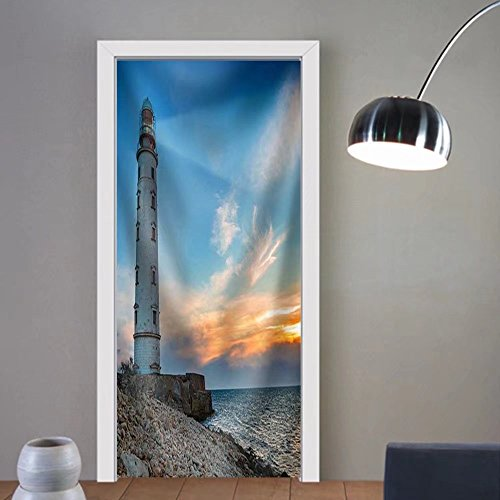 Gzhihine custom made 3d door stickers Lighthouse Searchlight Beam Through Sea Air at Night. Seascape at Sunset Fabric Home Decor For Room Decor 30x79 by Gzhihine