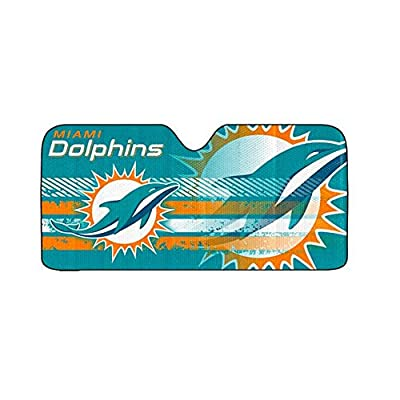 "Infinity Stock NFL Auto Sun Shade Universal Size Fit 58"" x 27"" - Windshield Car Truck SUV Sunshade - Interior Accessories (Miami Dolphins): Automotive"