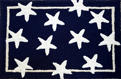 Small Rug 2 Feet x 3 Feet Throw Rugs for Entryway Rug Nautical Decor Entry Rug Washable Rug Bedroom Bathroom & Kitchen Rugs Blue Stars (Rug Blue Star)