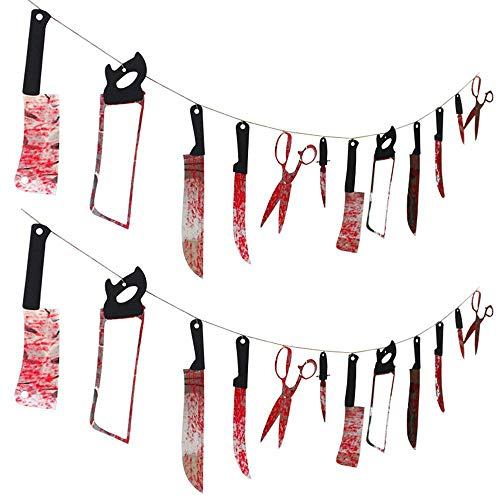Set of 2 Bloody Weapons Garland Props for