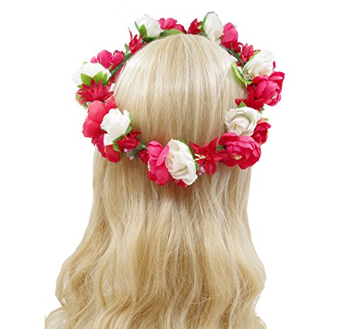 Love Sweety Flower Crown Flower Headband Hair Wreath for Wedding Featival (Red White) by Love Sweety (Image #1)