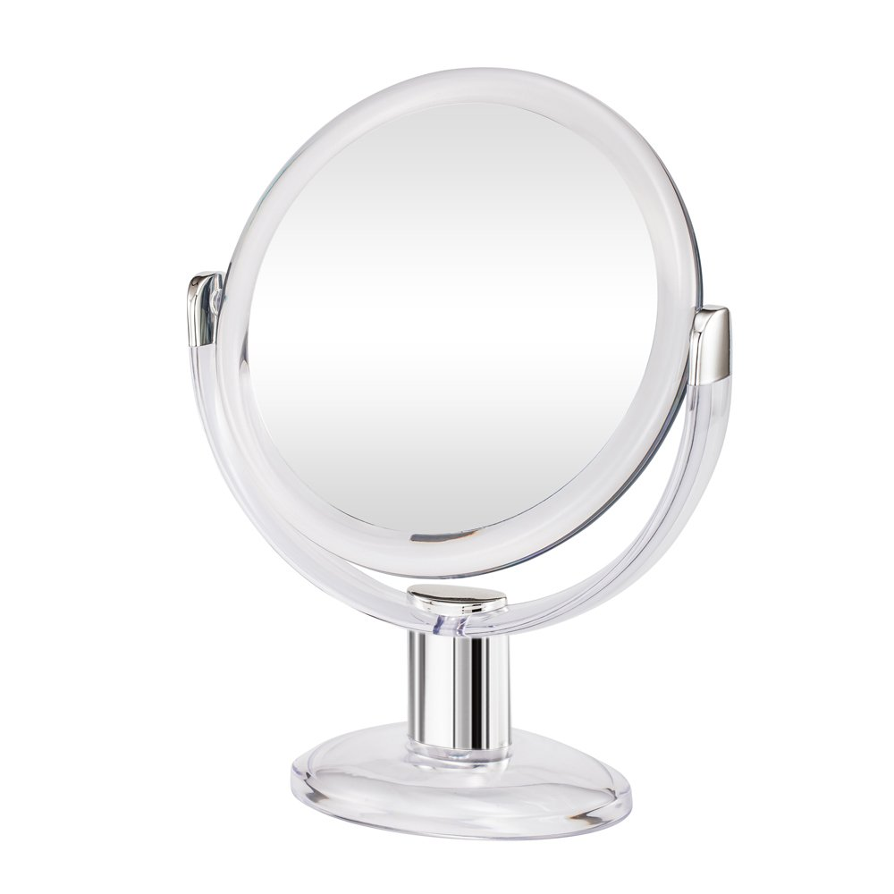 Gotofine Double Sided Magnifying Makeup Mirror, 1X & 10X Magnification with 360 Degree Rotation- Clear & Transparent : Beauty