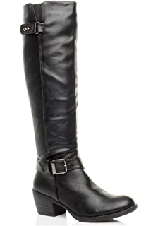 WOMENS LADIES MID BLOCK HEEL ZIP BUCKLE STRAP BIKER CALF KNEE BOOTS SIZE