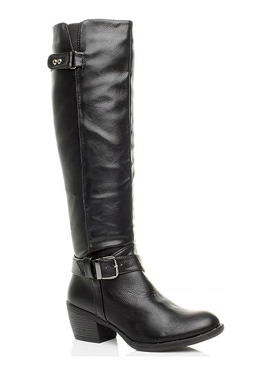 Ajvani womens low heel flat buckle strap bridle calf knee fur riding zip biker boots