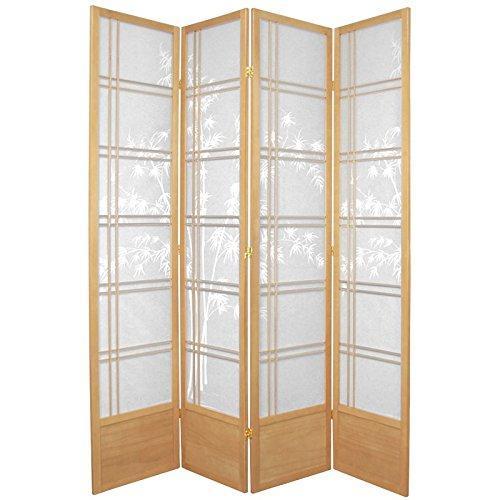Oriental Furniture 7 ft. Tall Bamboo Tree Shoji Screen - Natural - 4 Panels (High Room End Dividers)