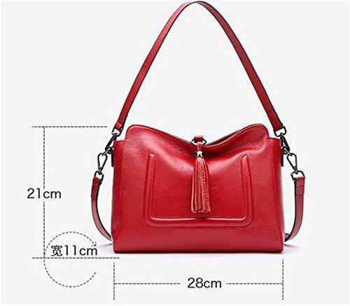 sac sac Messenger cuir en d'épaule tempérament Red Lady Fringe Bandoulière simple Bag qz8Sw
