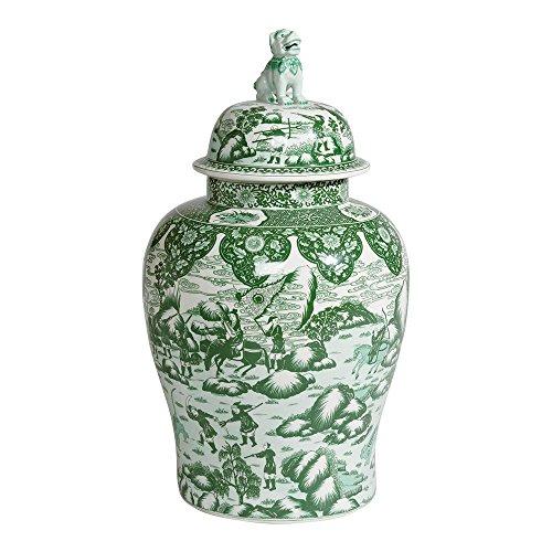 Ethan Allen Porcelain Foo Dog Jar, (Green Porcelain Jar)