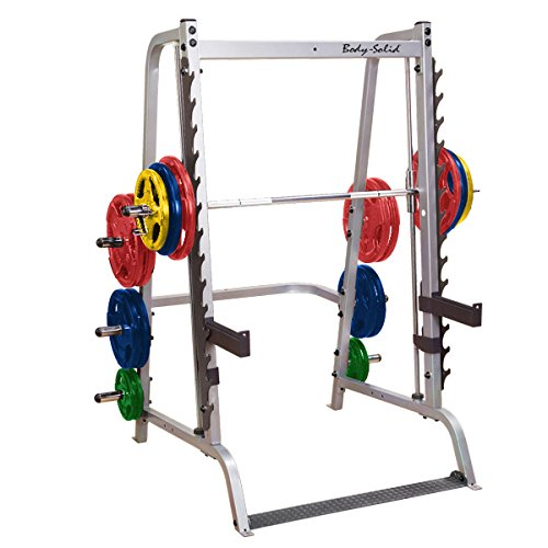 BodySolid Inc. Body-Solid #GS348Q Series 7 Linear Bearing Smith Machine with 165 lb COLORED Rubber Grip Weight Plates #ORCT165
