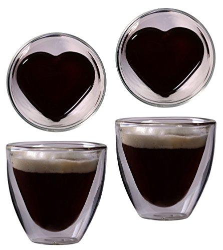 2x 80ml doppelwandiges Herzform Espresso- und Schnapsglas, edle Thermogläser mit Schwebeeffekt, Celissimo von Feelino, zum Muttertag