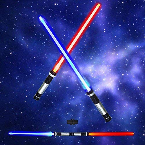 PeeNoke Light Saber 2-in-1 LED (6 Colors) Light Up FX Laser Dual Swords Set with Sound (Motion Sensitive) for Galaxy War Fighters and Warriors by Spooktacular Creations