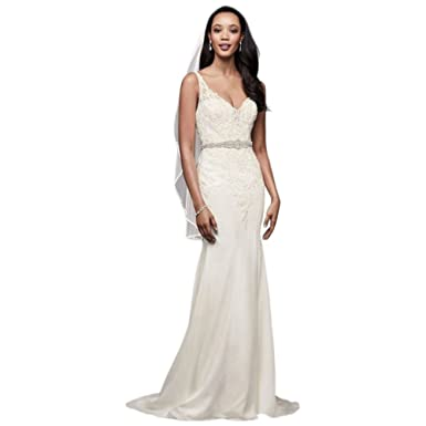 75b1bad3a7a Crepe Mermaid Wedding Dress with Metallic Embroide Style WG3875 at Amazon  Women s Clothing store