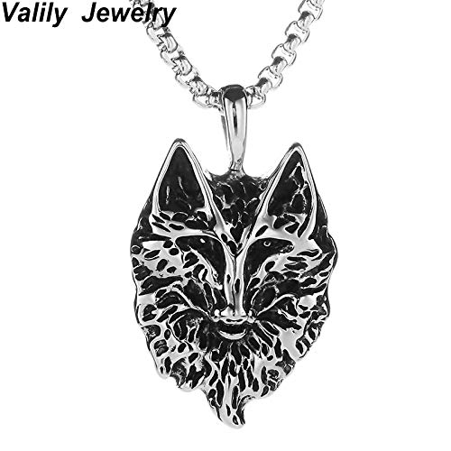 Davitu Valily Mens Wolf Head Necklace Pendant Animal Power Norse Viking Amulet Necklaces Stainless Steel Punk Silver Black Necklace Metal Color: Gold, Length: 55cm
