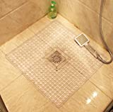 Square Mat for Shower Non Slip Bath Mat with Anti Bacterial Machine Washable with Beauty Modern Design 22 x 22 Inch (White)