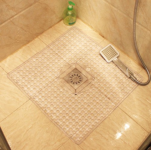 Square Mat for Shower Non Slip Bath Mat with Anti Bacterial Machine Washable with Beauty Modern Design 22 x 22 Inch (White) by NUOMIZI