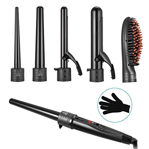 Price comparison product image Multi-Function Interchangeable Barrels Wand Set Hair Straightener Hair Curler Brush Style Straightens&Curls with Adjustable Temp Inch with Glove 0.3 to 1.26 US+UK Plug